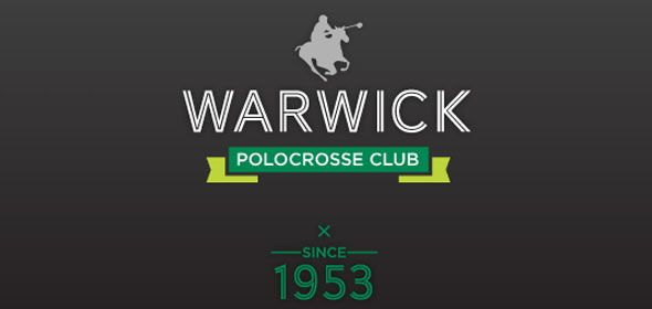Warwick Polocrosse Club logo. A silhouette of a horse and a man in a polocrosse