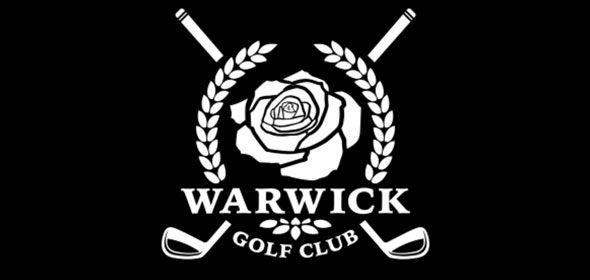Warwick Golf Club logo. A flower in the center and two golf club crossing each other